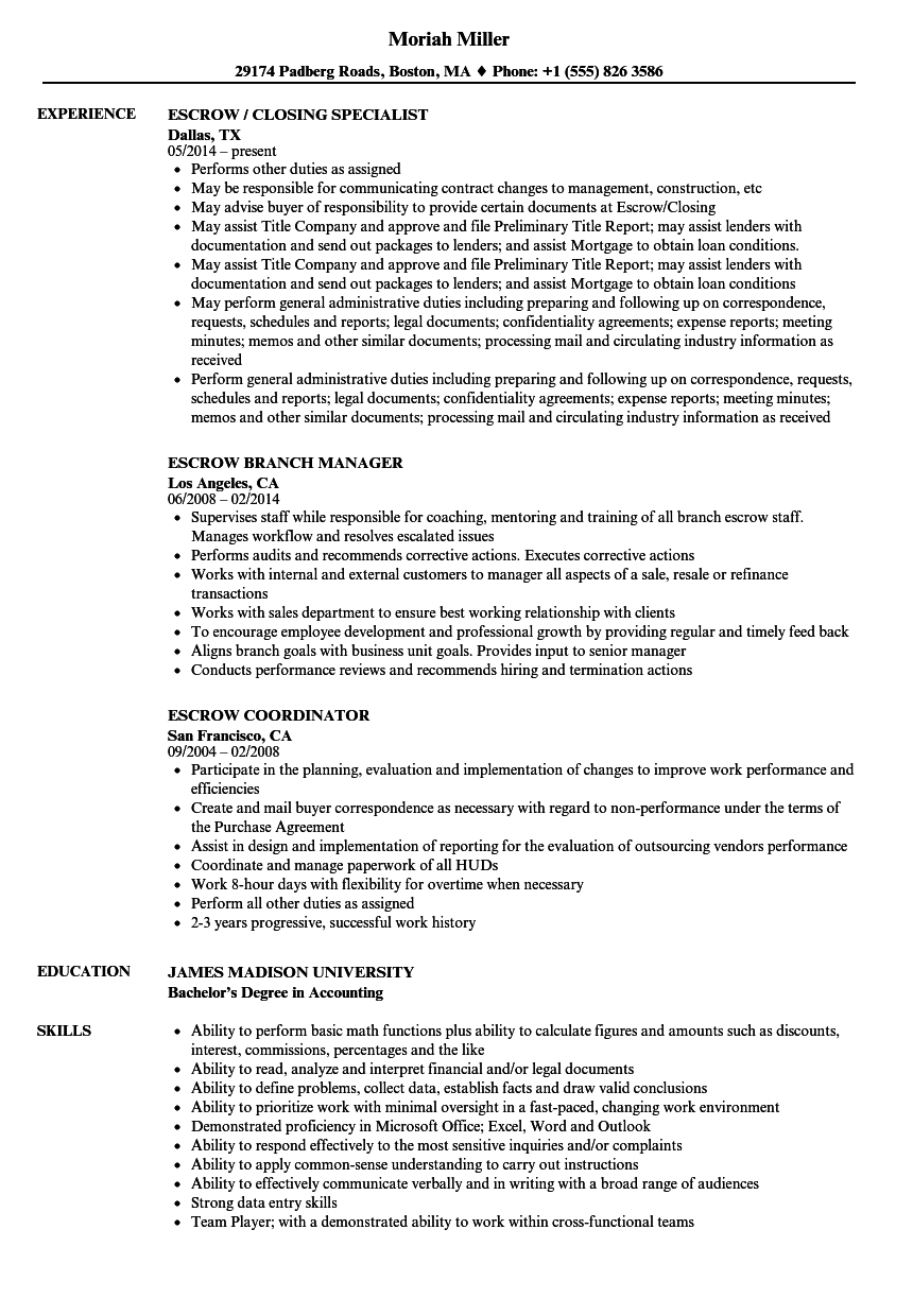 Escrow Resume Samples Velvet Jobs