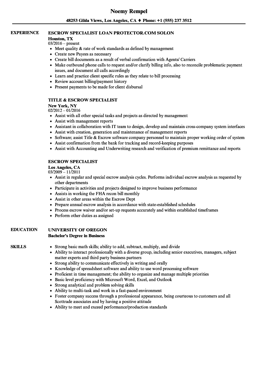 Escrow Specialist Resume Samples Velvet Jobs Wiring Instructions For Scottrade Download Sample As Image File