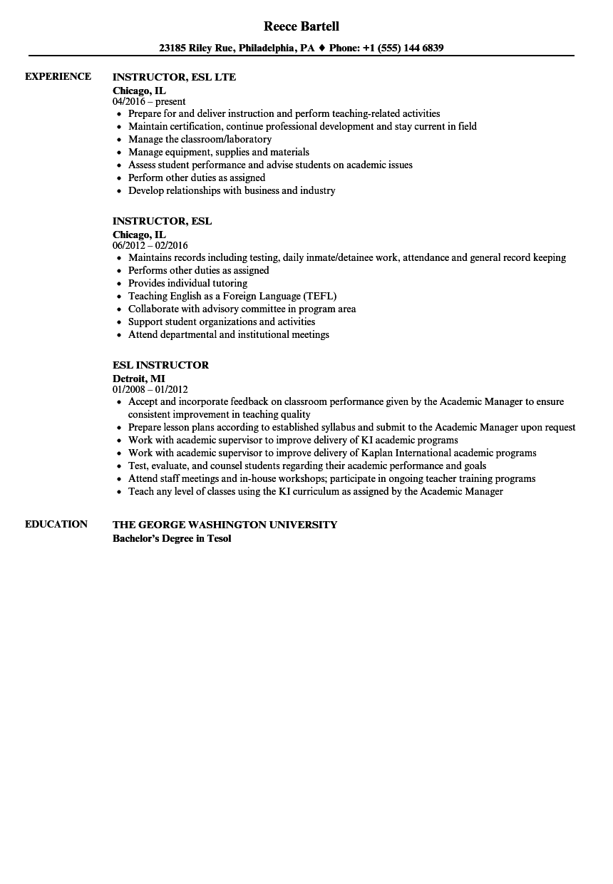 Esl Instructor Resume Samples Velvet Jobs