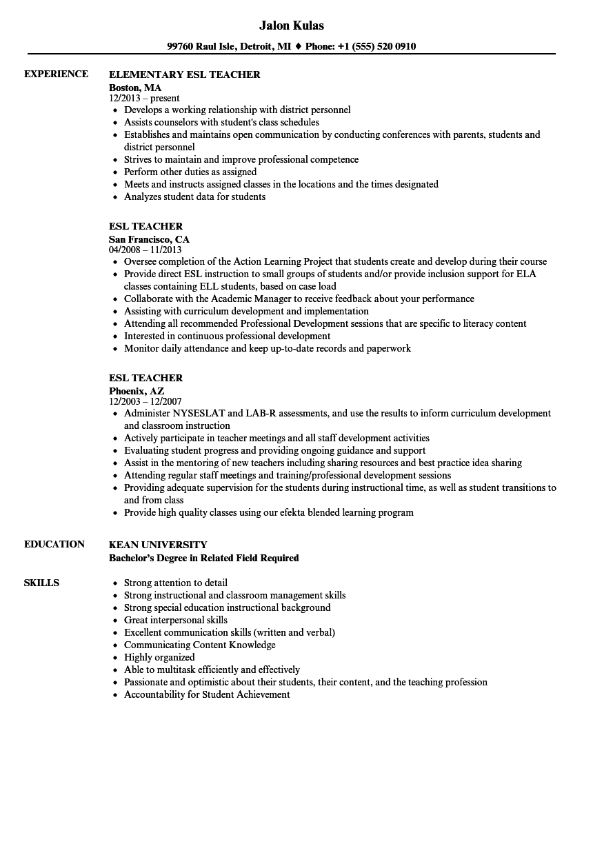 Esl Teacher Resume Grudeinterpretomicsco