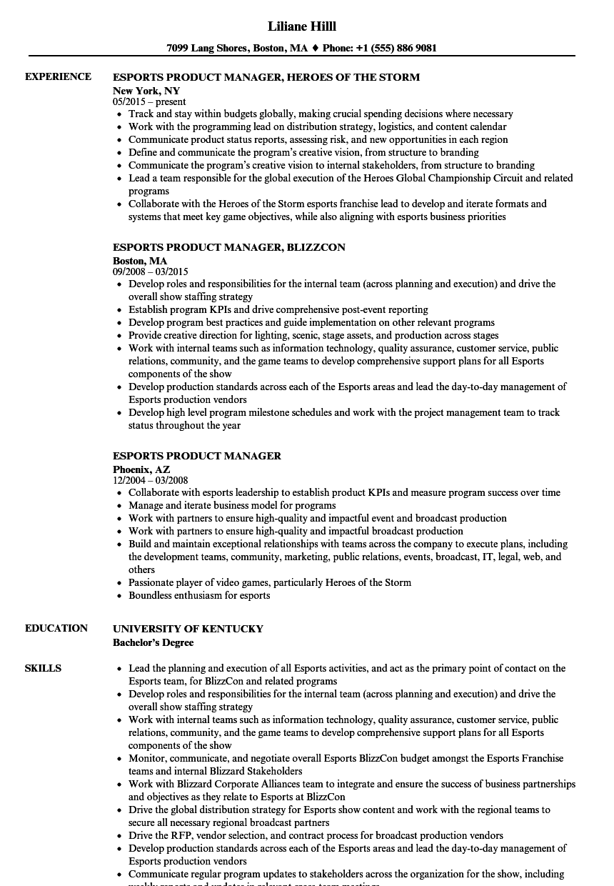esports product manager resume samples