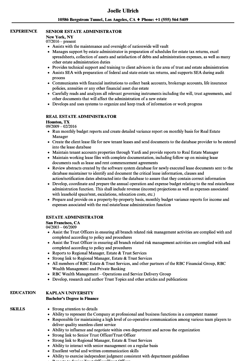 Estate Administrator Resume Samples | Velvet Jobs