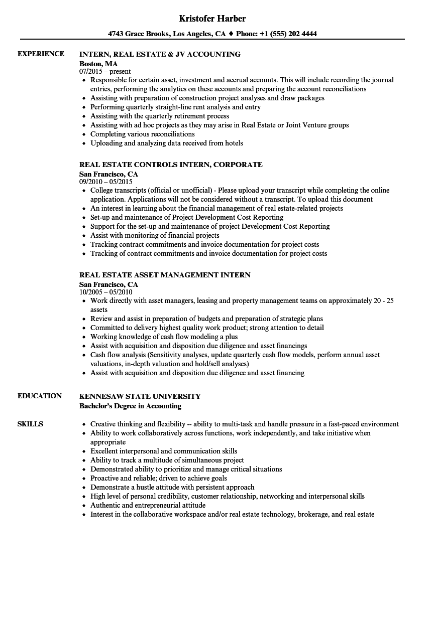 Estate Intern Resume Samples | Velvet Jobs