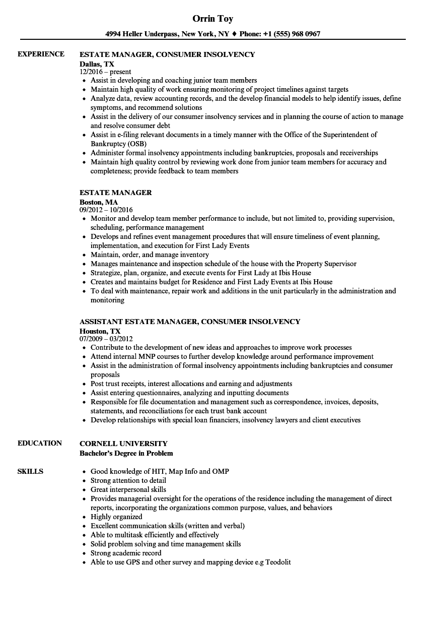 estate manager resume samples