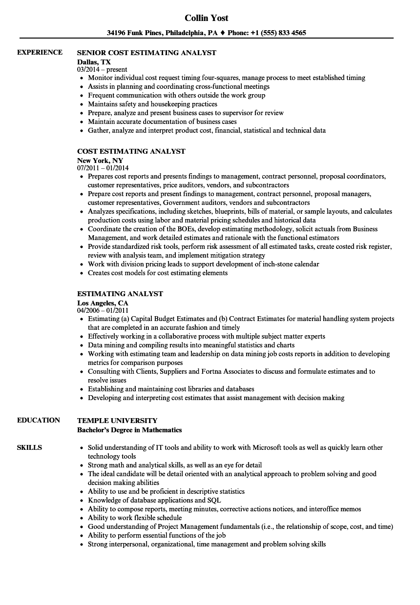 estimating analyst resume samples