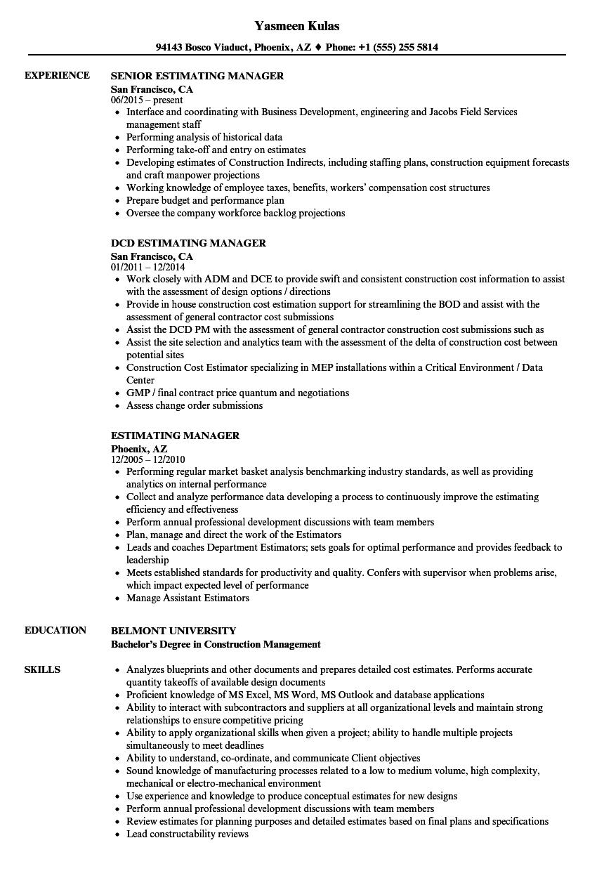 Estimating Manager Resume Samples | Velvet Jobs