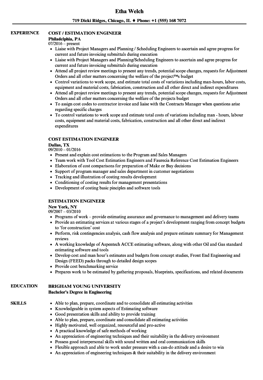 estimation engineer resume samples
