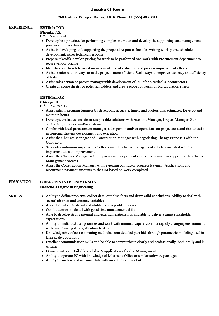 estimator resume samples