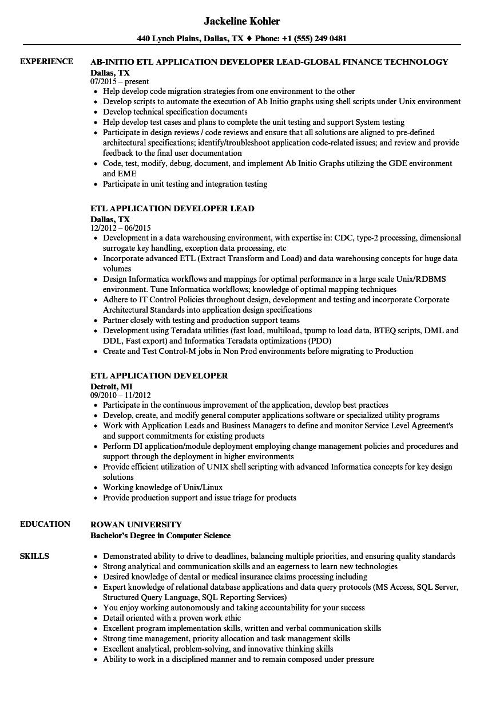 etl application developer resume samples