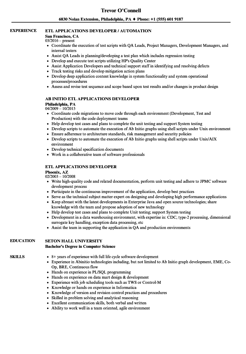 Etl Applications Developer Resume Samples Velvet Jobs