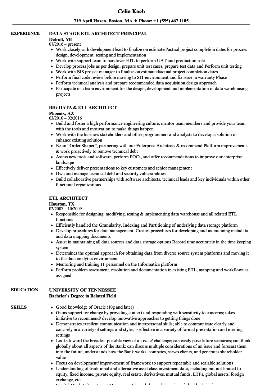 ETL Architect Resume Samples | Velvet Jobs
