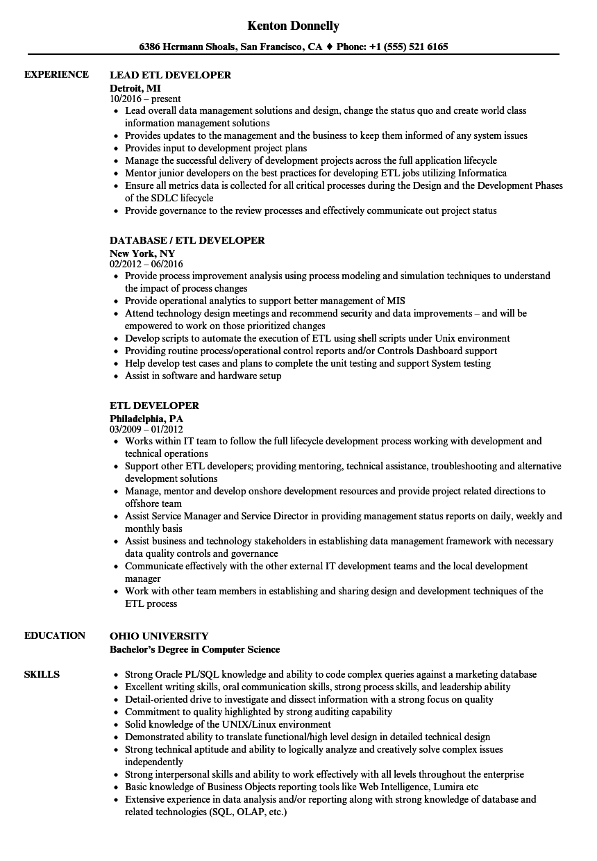 ETL Developer Resume Samples | Velvet Jobs