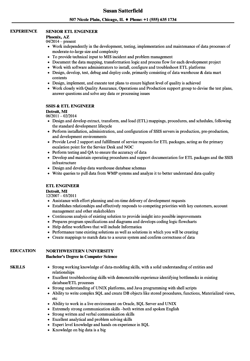 ETL Engineer Resume Samples   Velvet Jobs