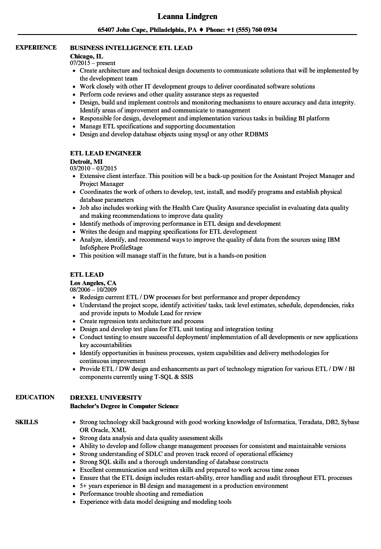 ETL Lead Resume Samples | Velvet Jobs