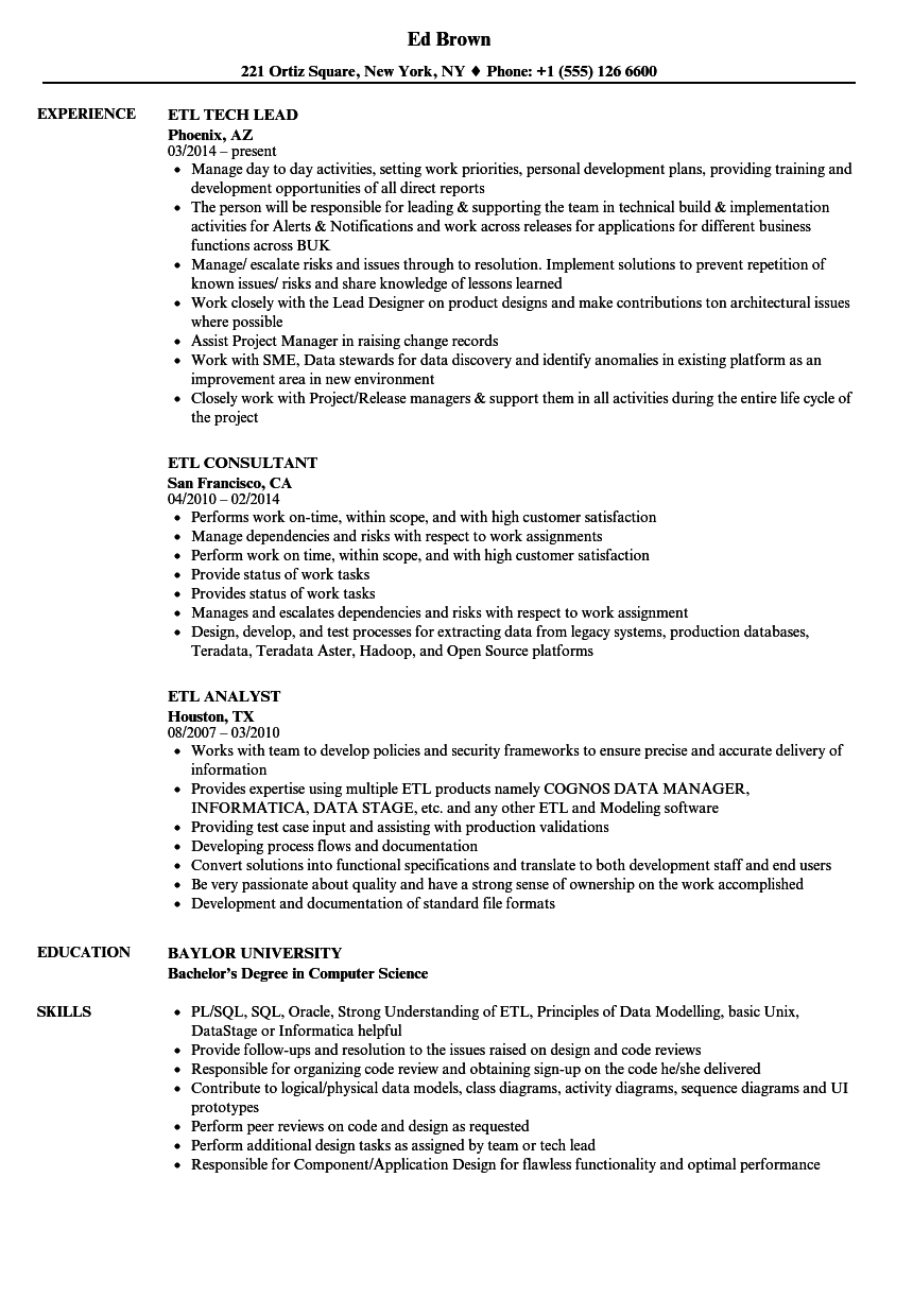Teradata etl developer resume