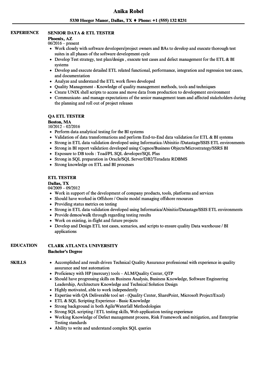 ETL Tester Resume Samples | Velvet Jobs