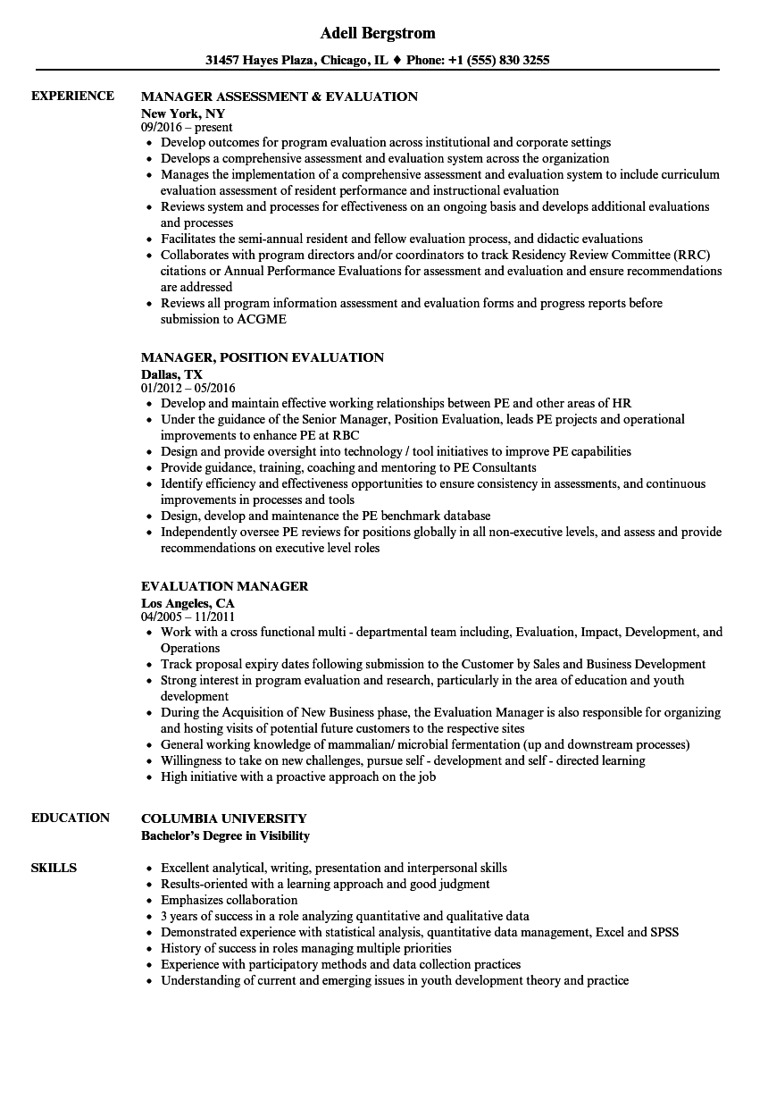 Evaluation Manager Resume Samples | Velvet Jobs