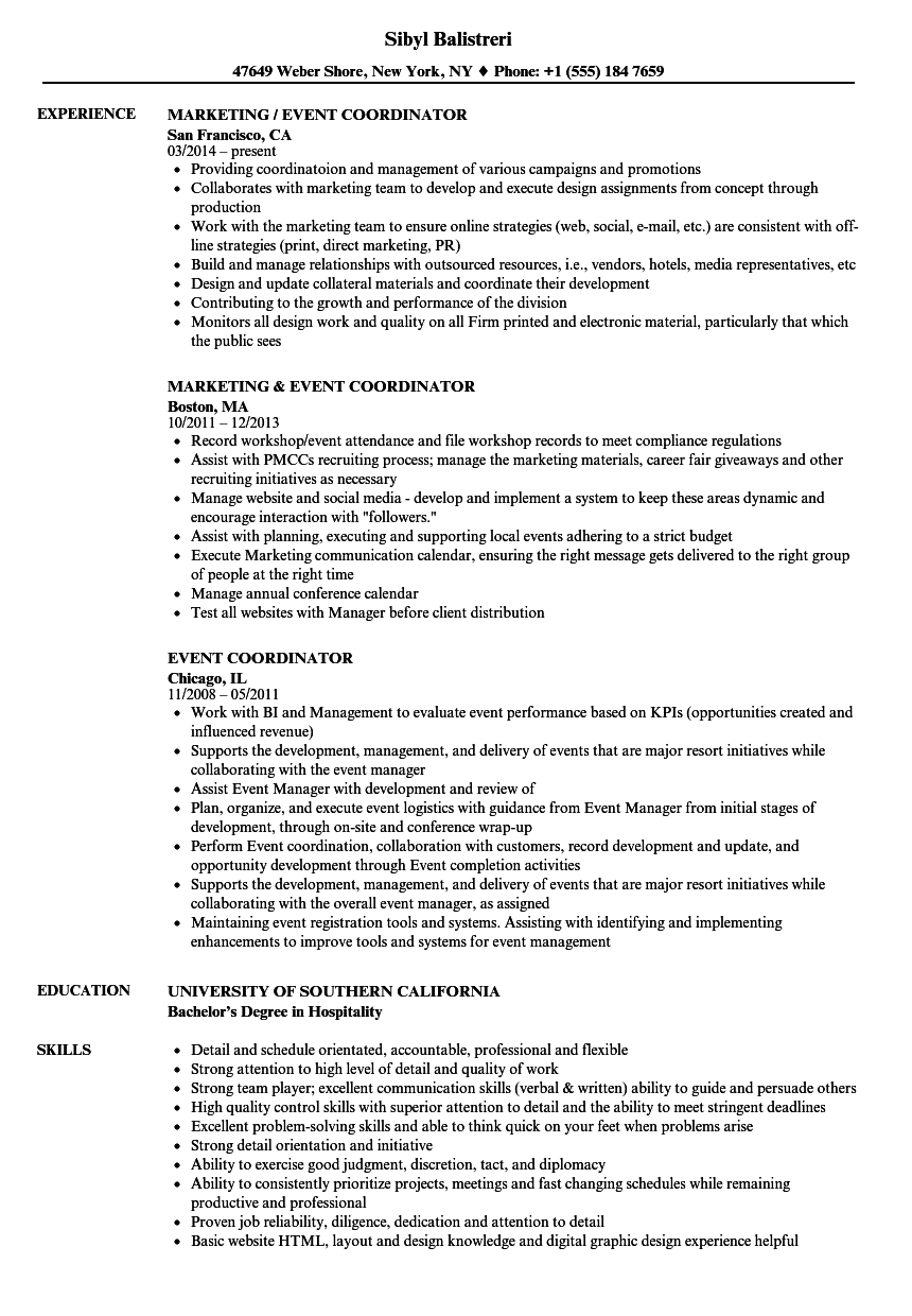 Event Coordinator Resume Samples Velvet Jobs