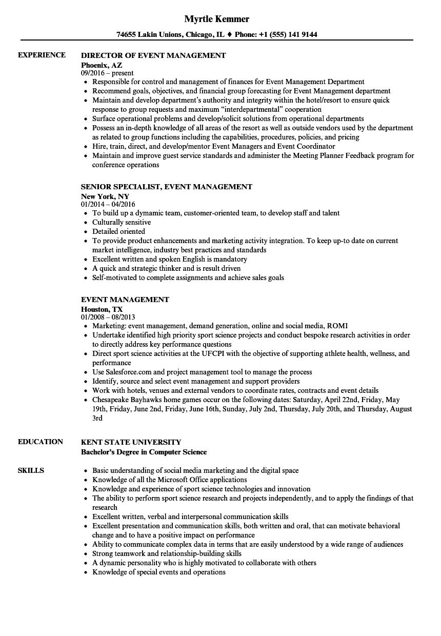 event management resume samples