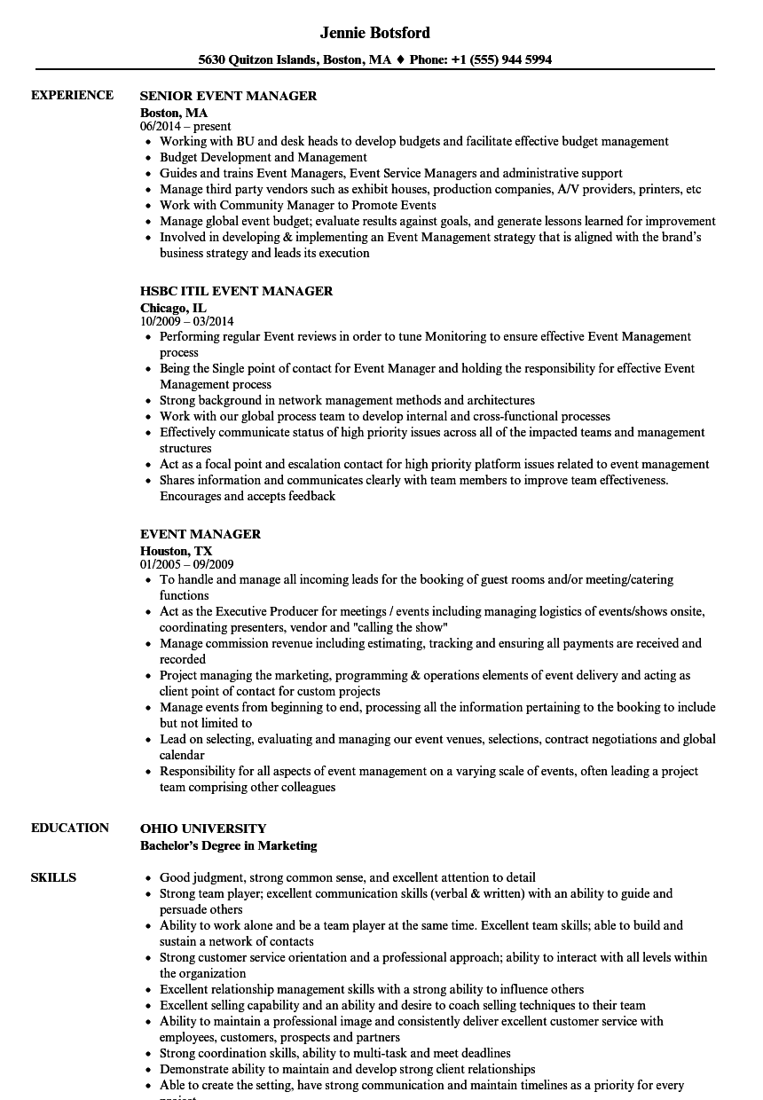 sample event marketing manager resume
