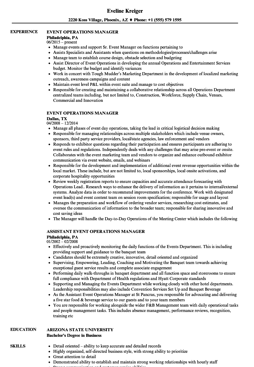 Event Operations Manager Resume Samples | Velvet Jobs