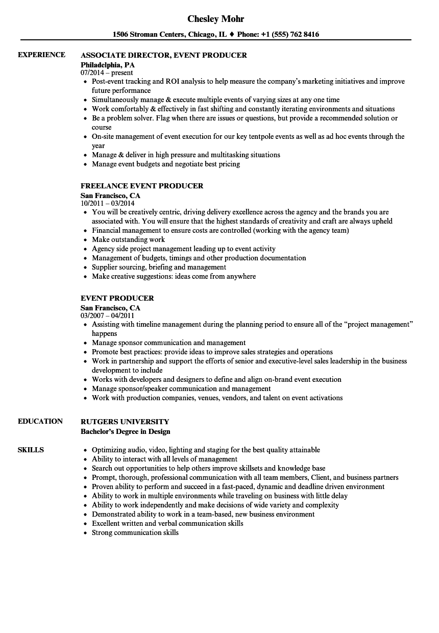 event producer resume samples