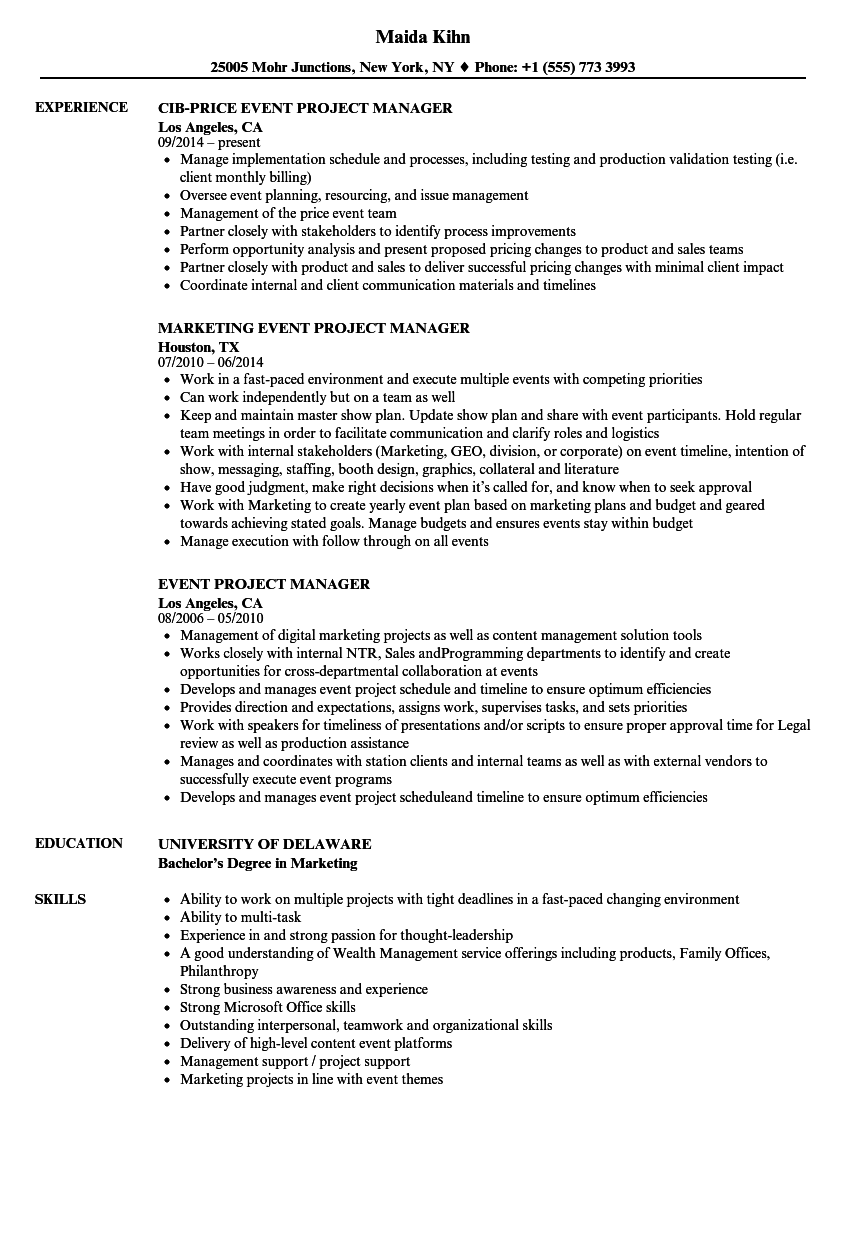 event project manager resume samples