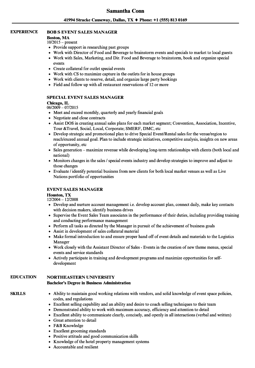 Event Sales Manager Resume Samples | Velvet Jobs
