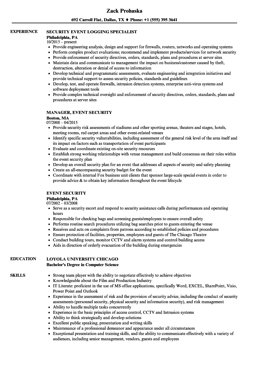 Event Security Resume Samples | Velvet Jobs