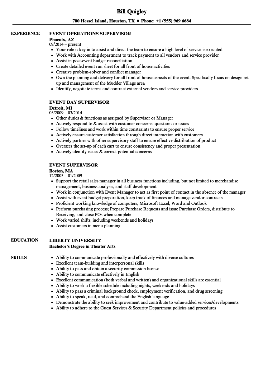 download event supervisor resume sample as image file. supervisor ...