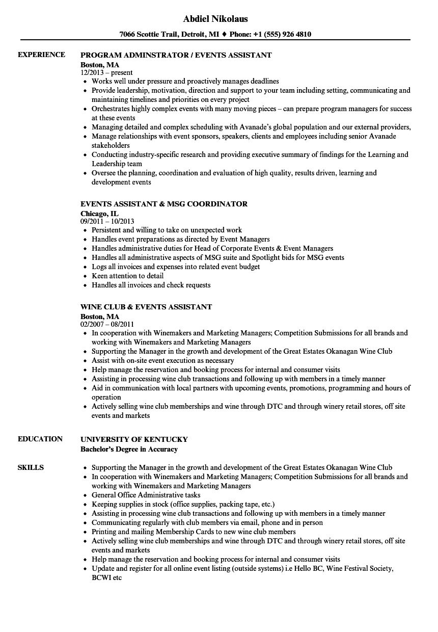 events assistant resume samples
