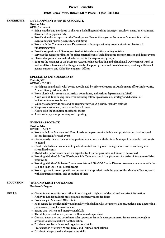 Events Associate Resume Samples | Velvet Jobs