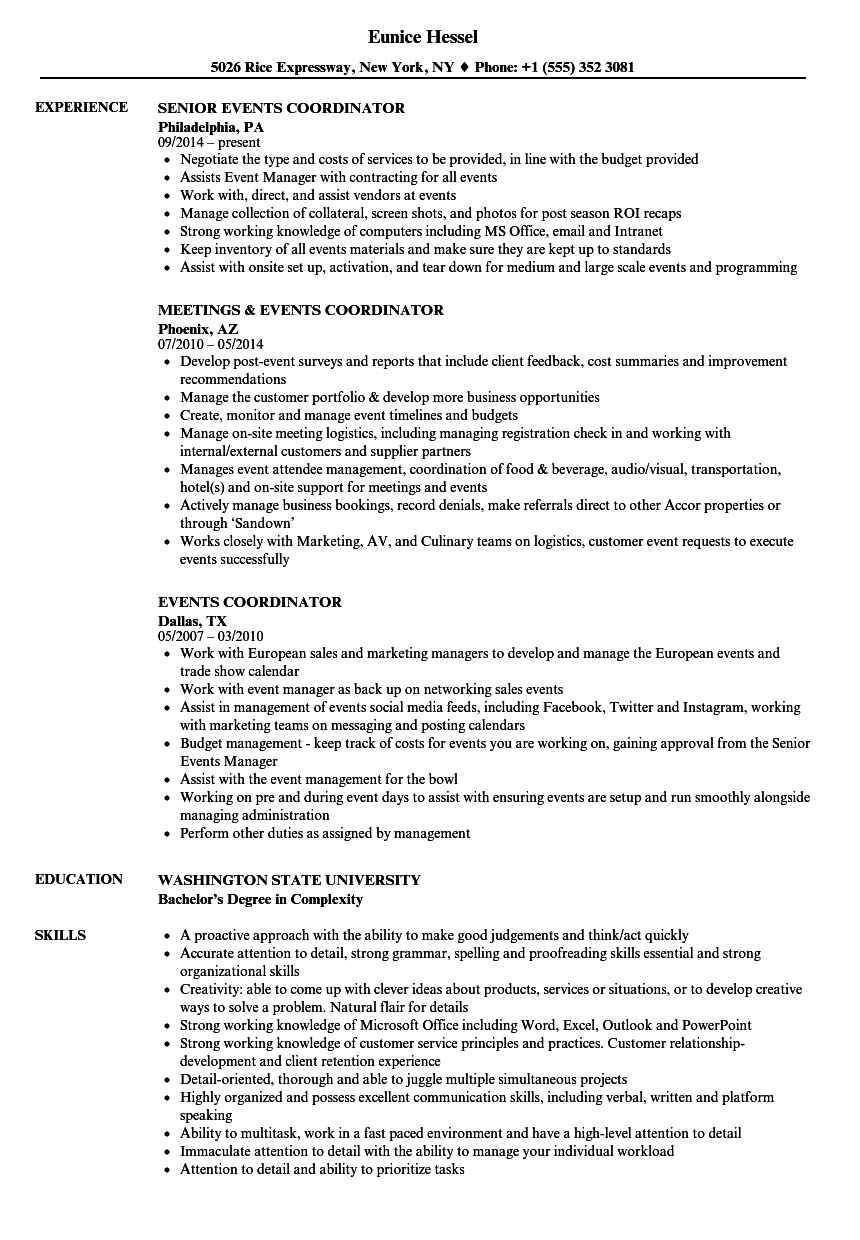 events coordinator resume samples