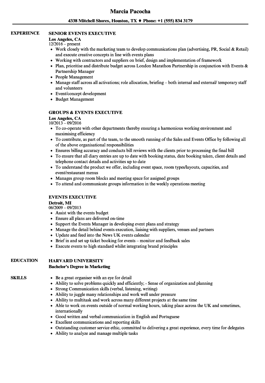 Events Executive Resume Samples | Velvet Jobs