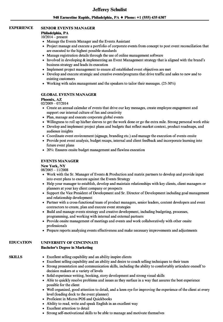 events manager resume samples