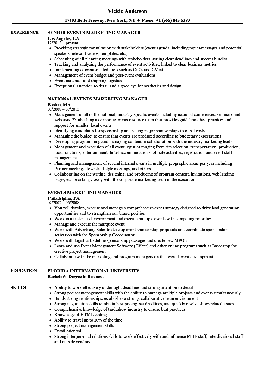 Events Marketing Manager Resume Samples Velvet Jobs