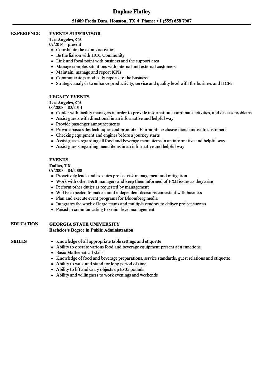 download events resume sample as image file