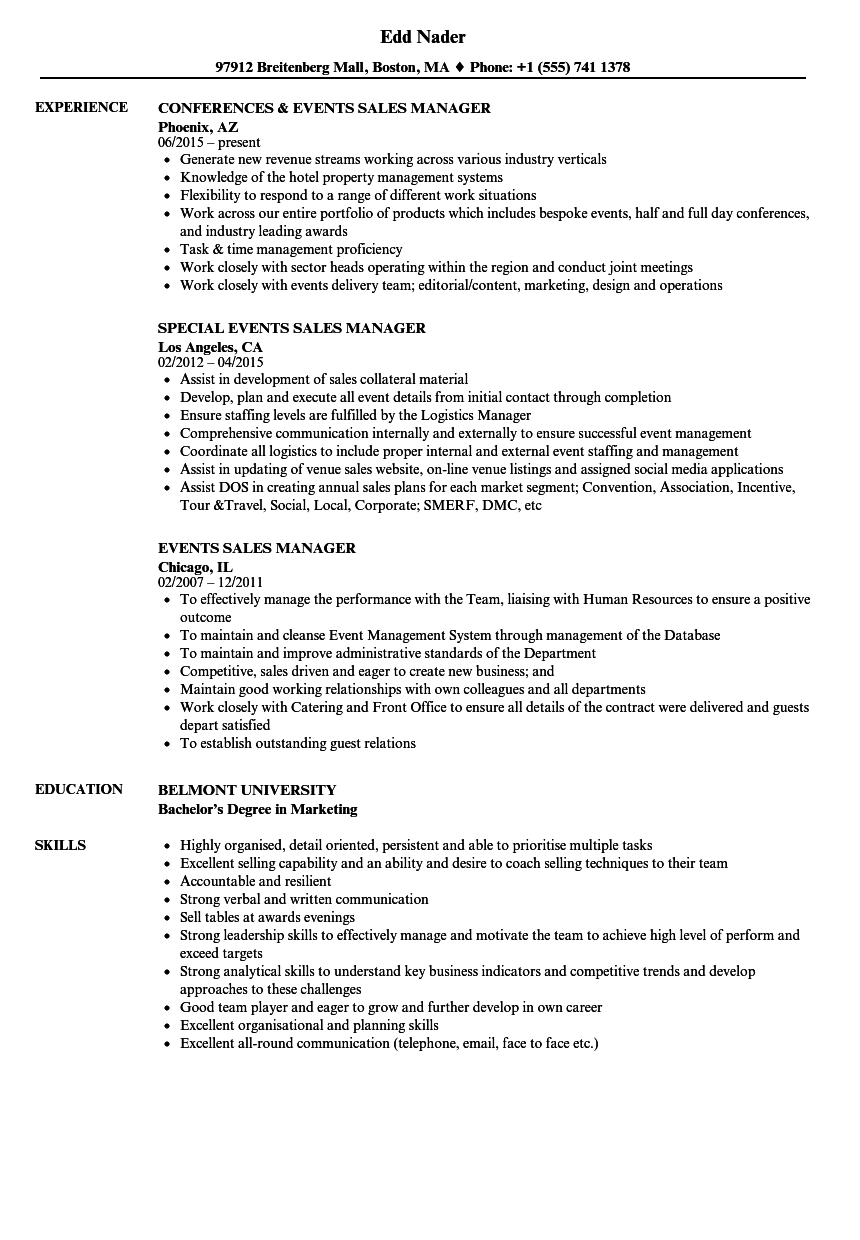 Events Sales Manager Resume Samples Velvet Jobs