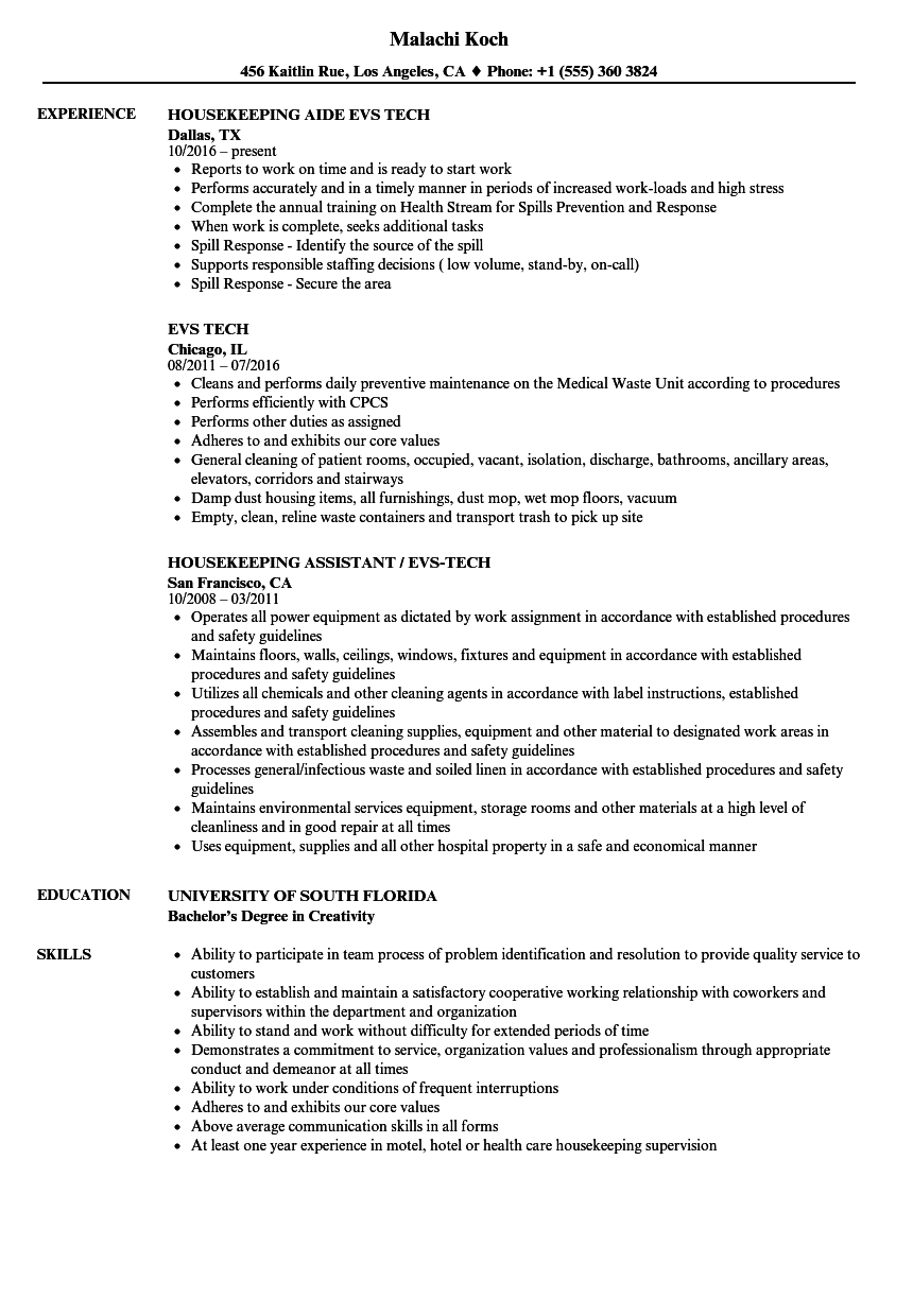 EVS Tech Resume Samples | Velvet Jobs