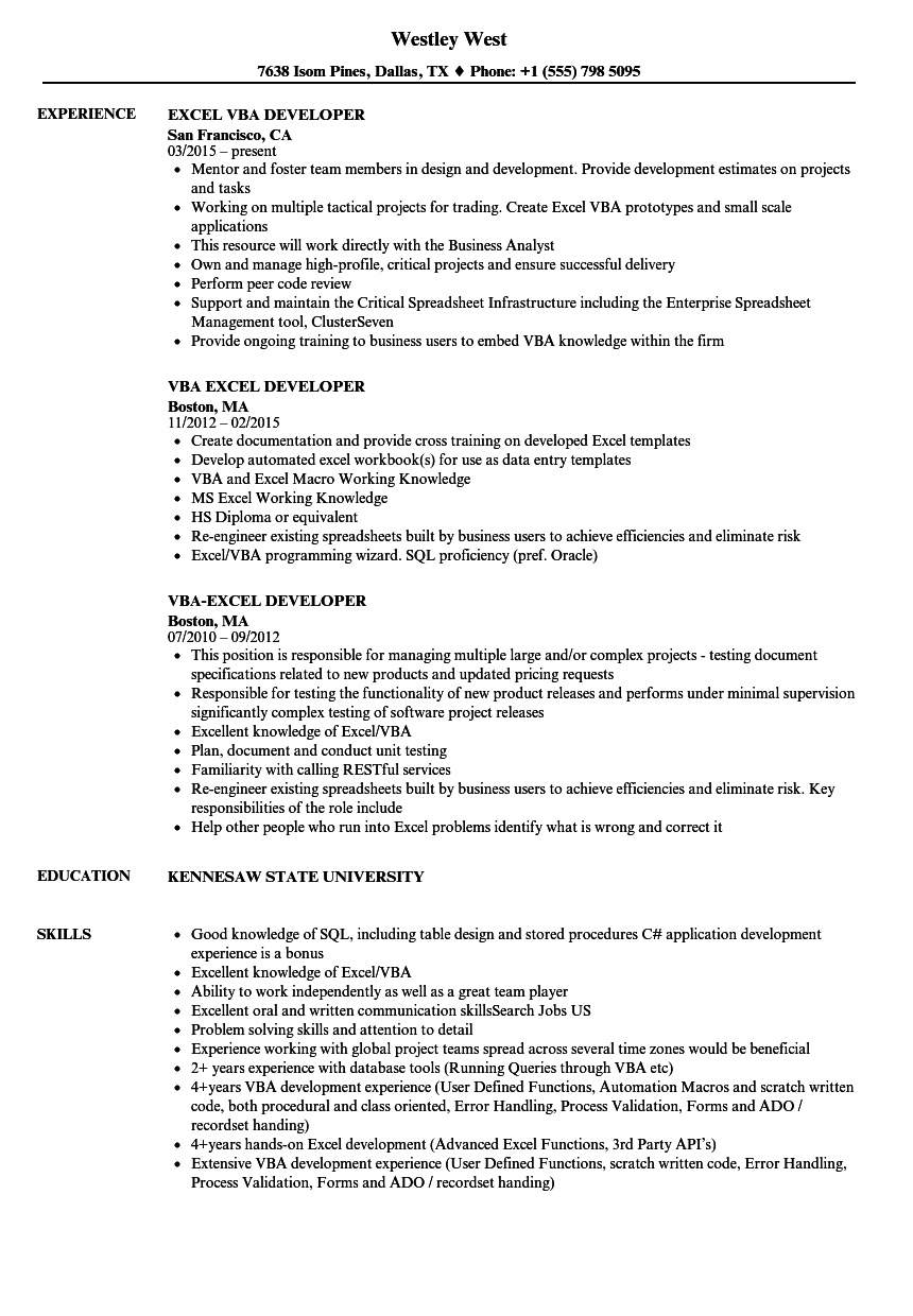 excel vba developer resume samples velvet jobs