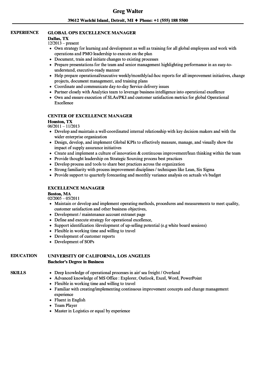 business excellence manager resume june 2020