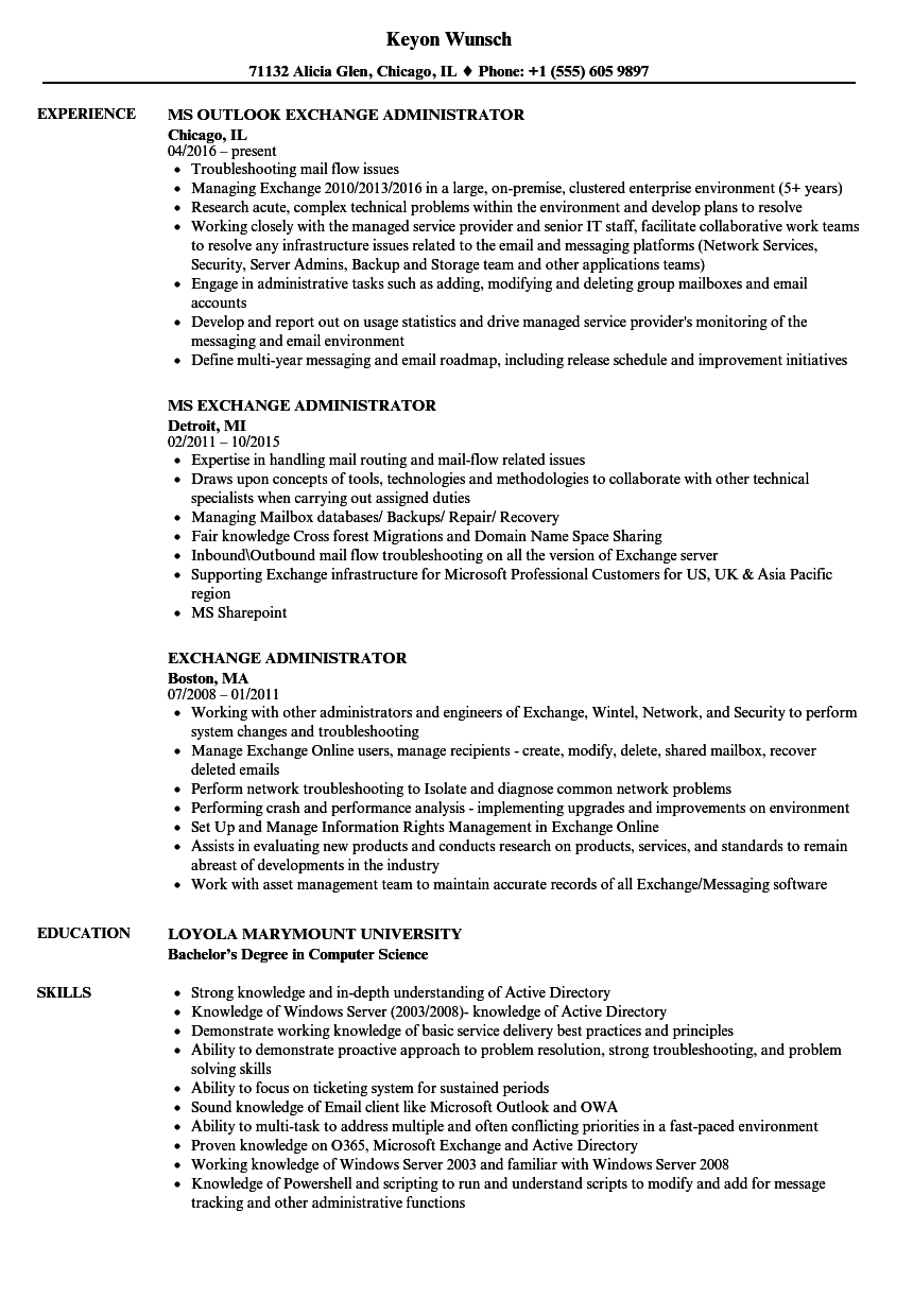 Exchange Administrator Resume Samples Velvet Jobs