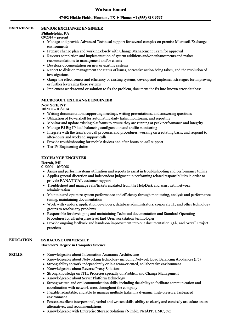 Exchange Engineer Resume Samples Velvet Jobs