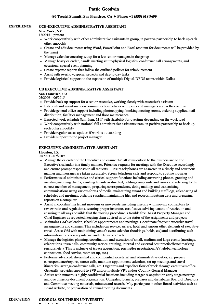 Executive Administrative Assistant Resume Samples | Velvet Jobs