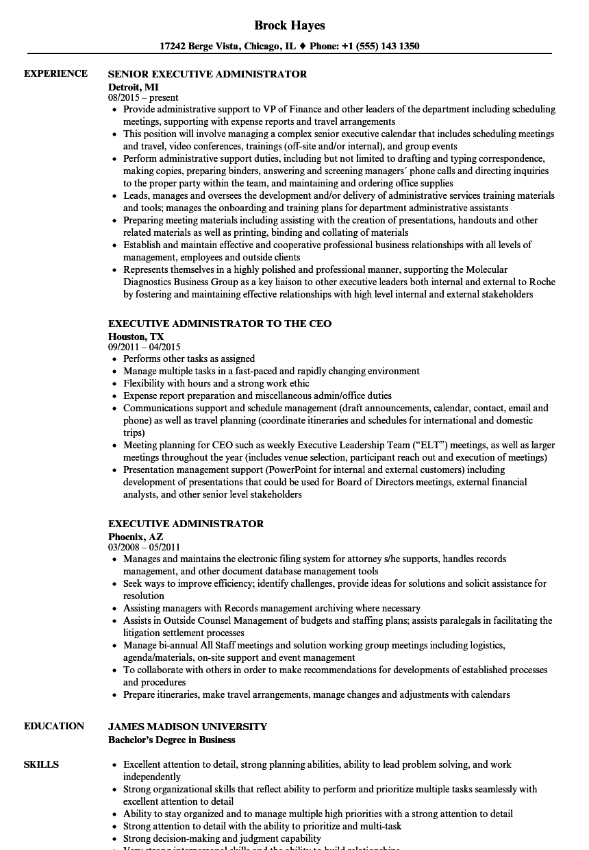executive administrator resume samples velvet jobs