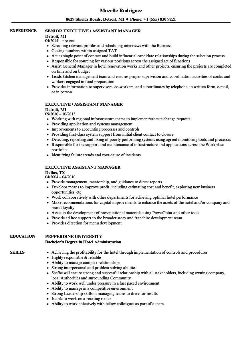 Executive Assistant Manager Resume Samples | Velvet Jobs