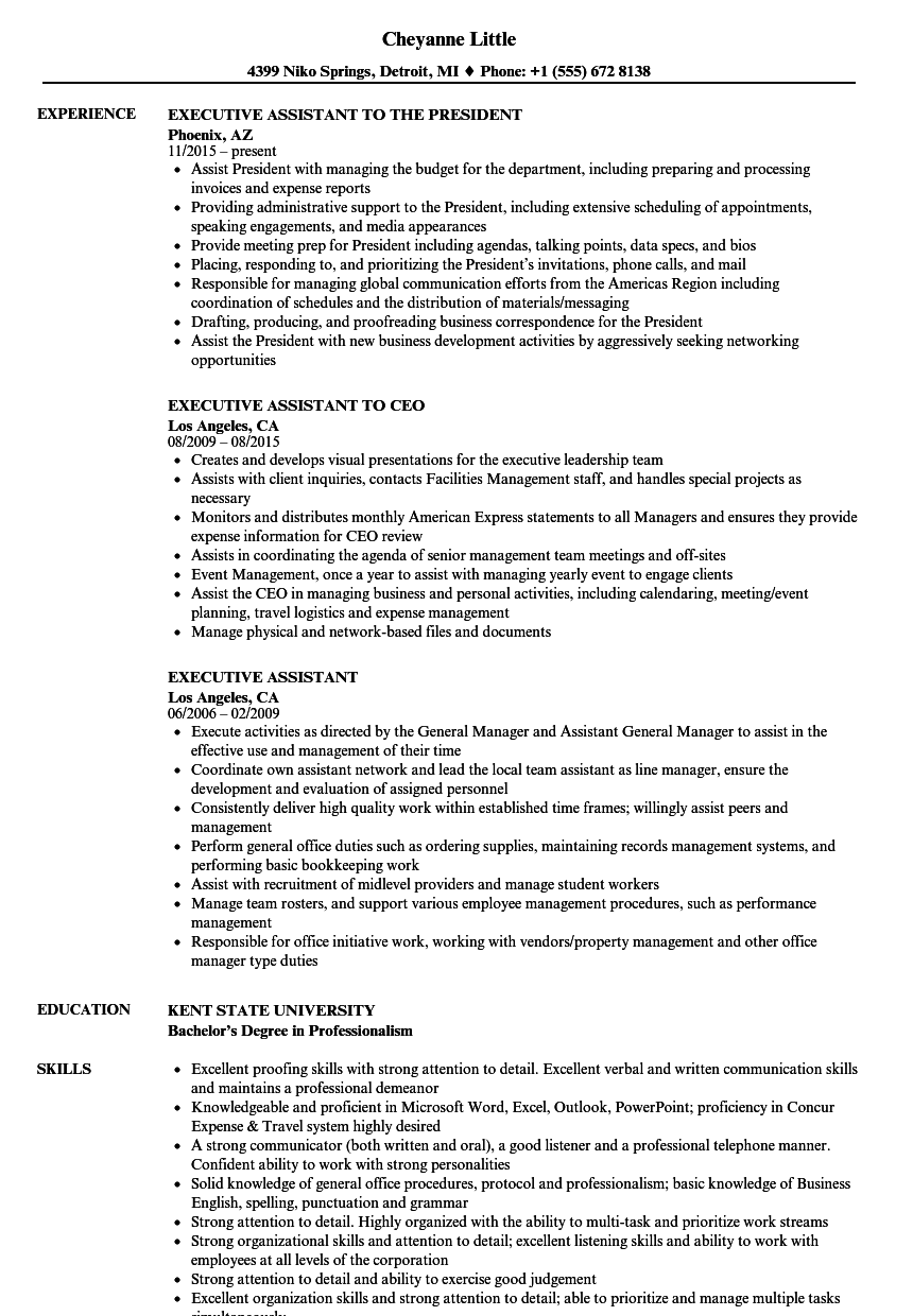 Executive Assistant Resume Samples | Velvet Jobs