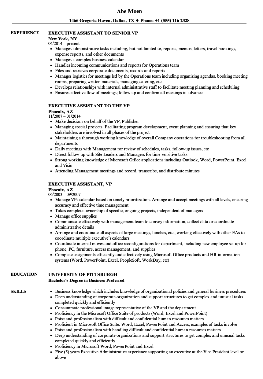 Executive Assistant, VP Resume Samples | Velvet Jobs