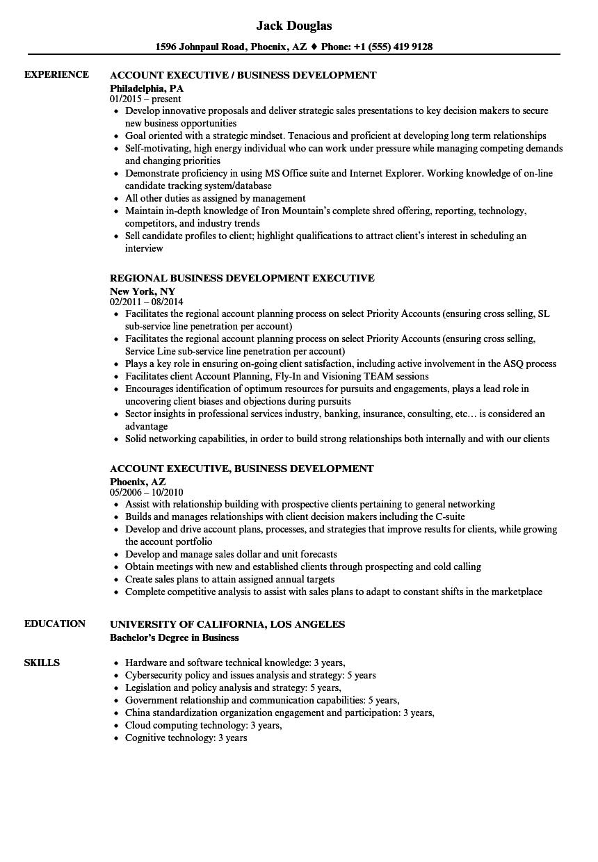 Executive, Business Development Resume Samples | Velvet Jobs