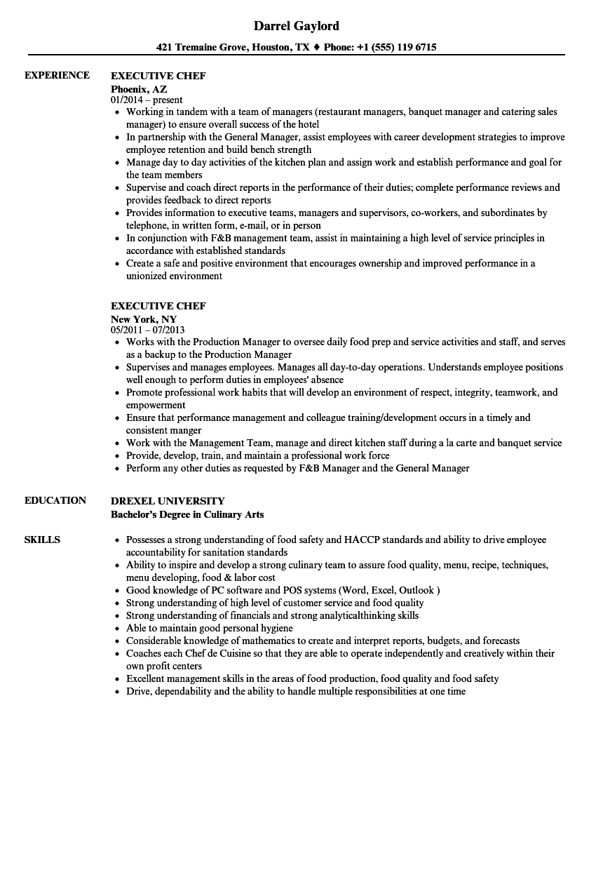 Executive Chef Resume Samples | Velvet Jobs